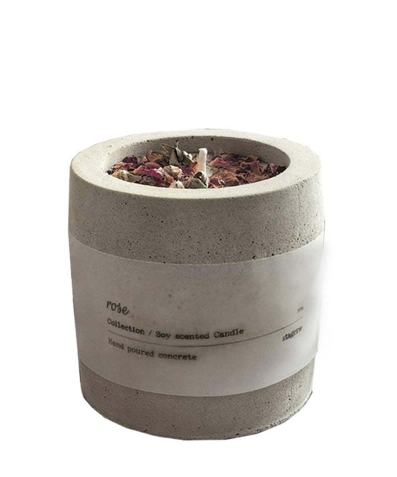 Cement Candle in Rose Scent by stagers+