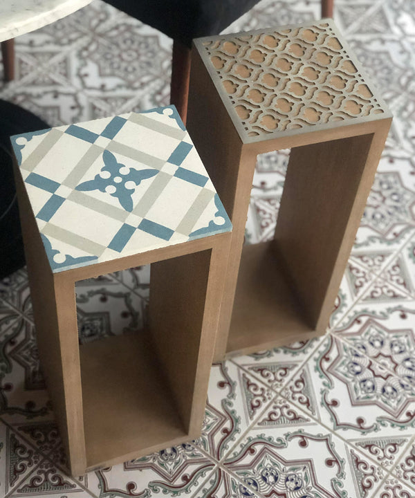 Square 20' Wood, Blue Tile Side Table
