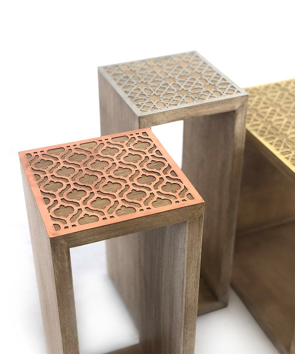 Square 20' Wood, Copper Arabesque Side Table
