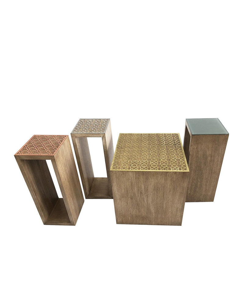 Square 20' Wood, Stainless Steel Arabesque Side Table