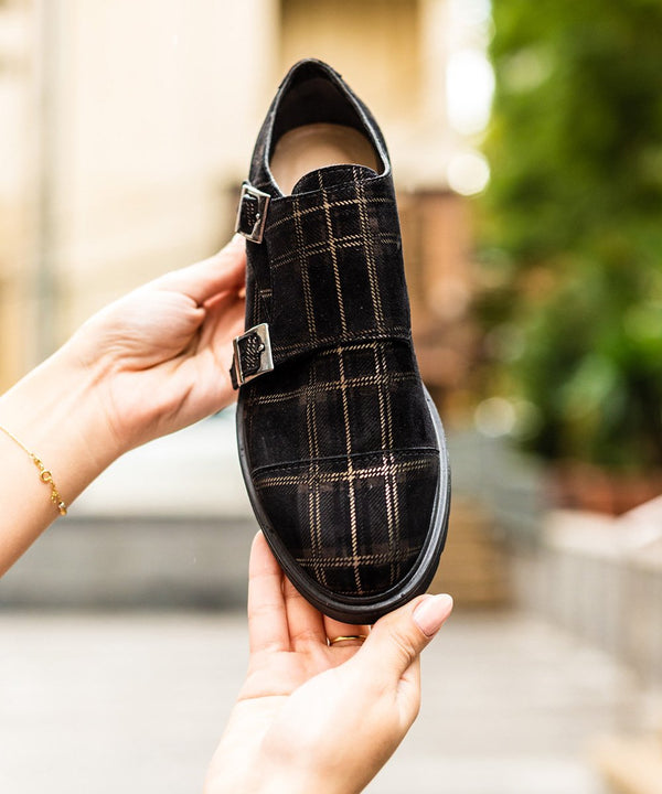 La 6ème Glen Plaid Monks in Black