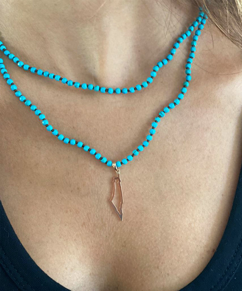 Palestine Outline Map Necklace with Blue Beaded Chain