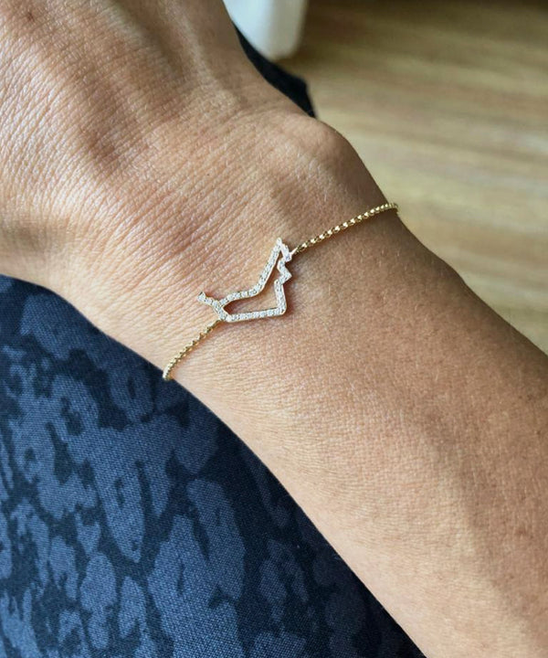 UAE Outline Map Bracelet with Diamonds