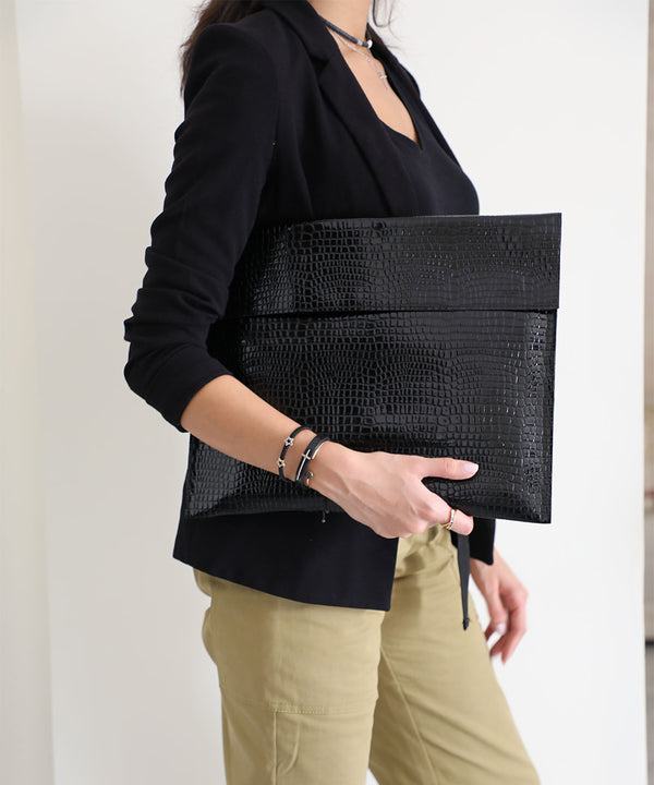 Croco Leather Laptop Case