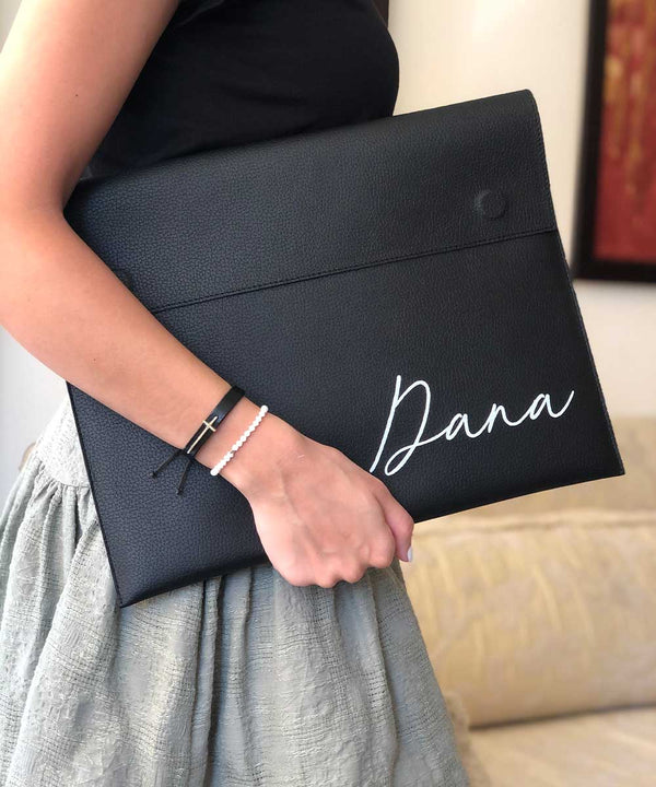Black Leather Laptop Case