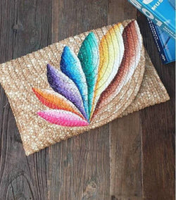 Colorful Feather Clutch