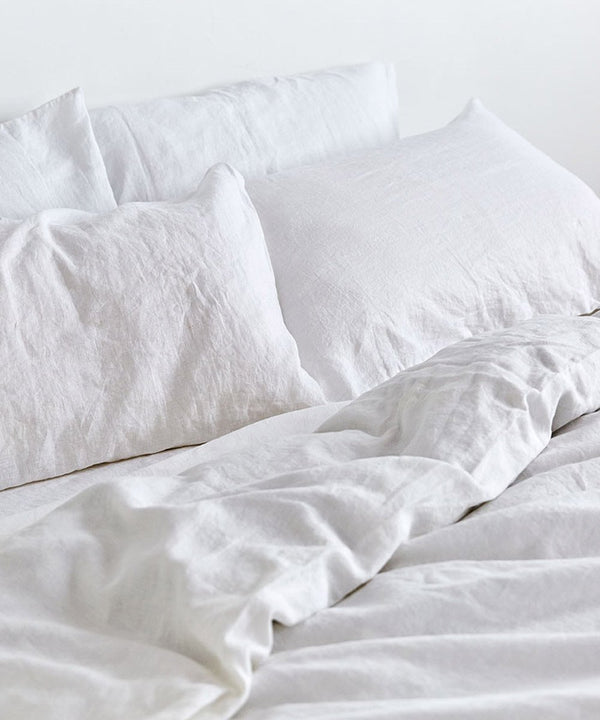 Flax Linen Bedding Set - White