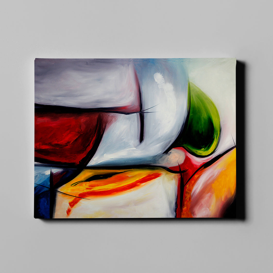 White and Multi Colored Abstract