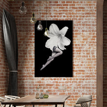 Load image into Gallery viewer, White Flower Black Stockings