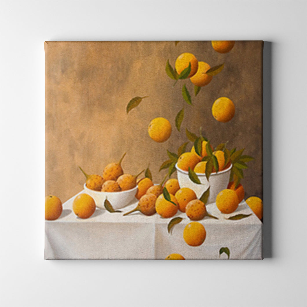 Oranges in White Bowls