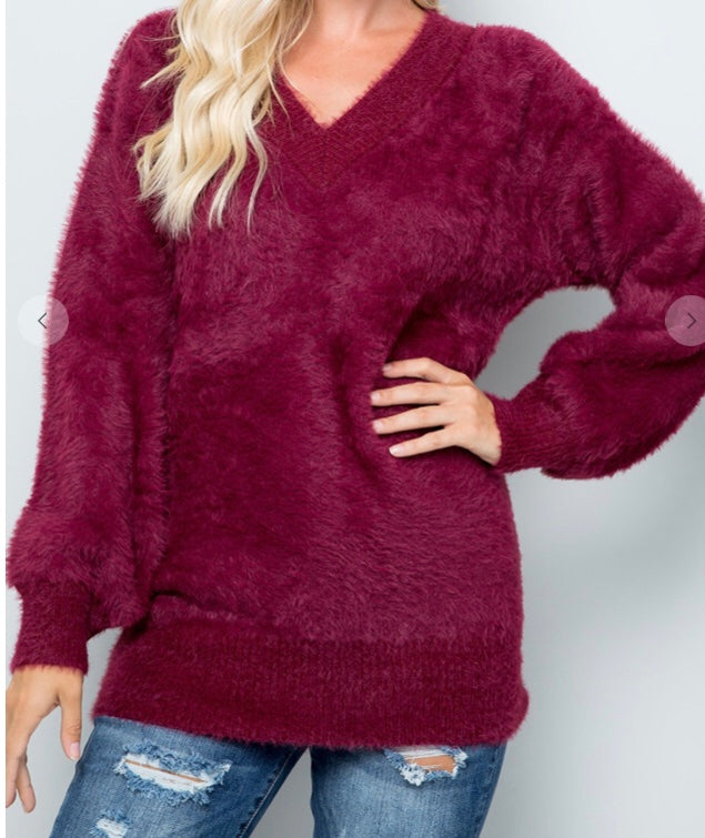 Burgundy V-Neck Fuzzy Sweater