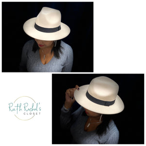Off White Fedora With Black Band