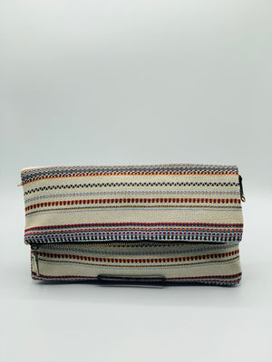 White/Multi Color Foldover Clutch