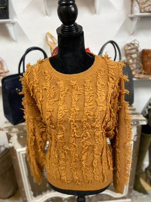 Mustard Fringe Knit Sweater