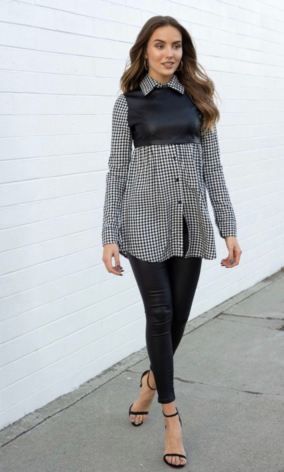 Plaid Long Sleeve Tunic W/Vegan Leather Vest