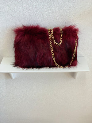 Burgundy Faux Fur Purse
