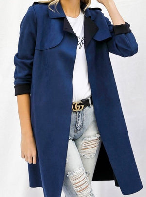 Faux Seude Trench Coat