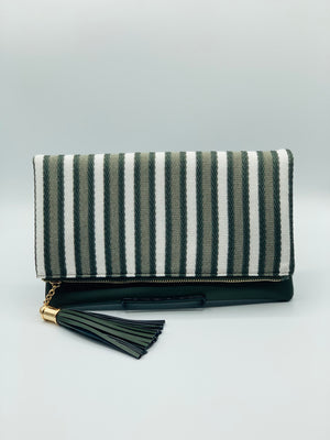 Olive & White Stripped Clutch