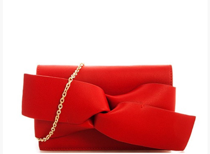 Red Large Bow Clutch With Chain