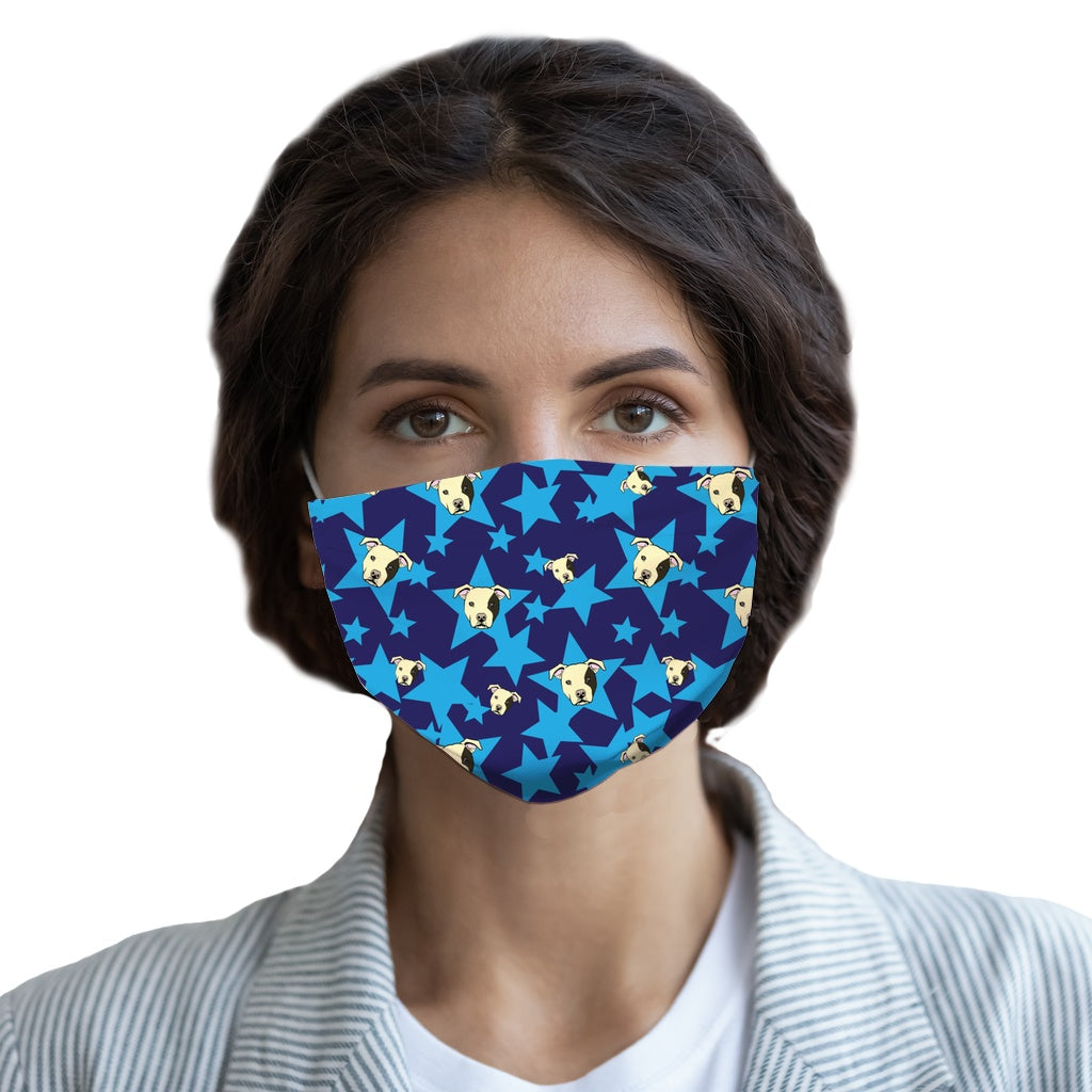 Staffy and Star (Blue)  Face Mask - Youth and Adult sizes - Fair Dinkum Fashion