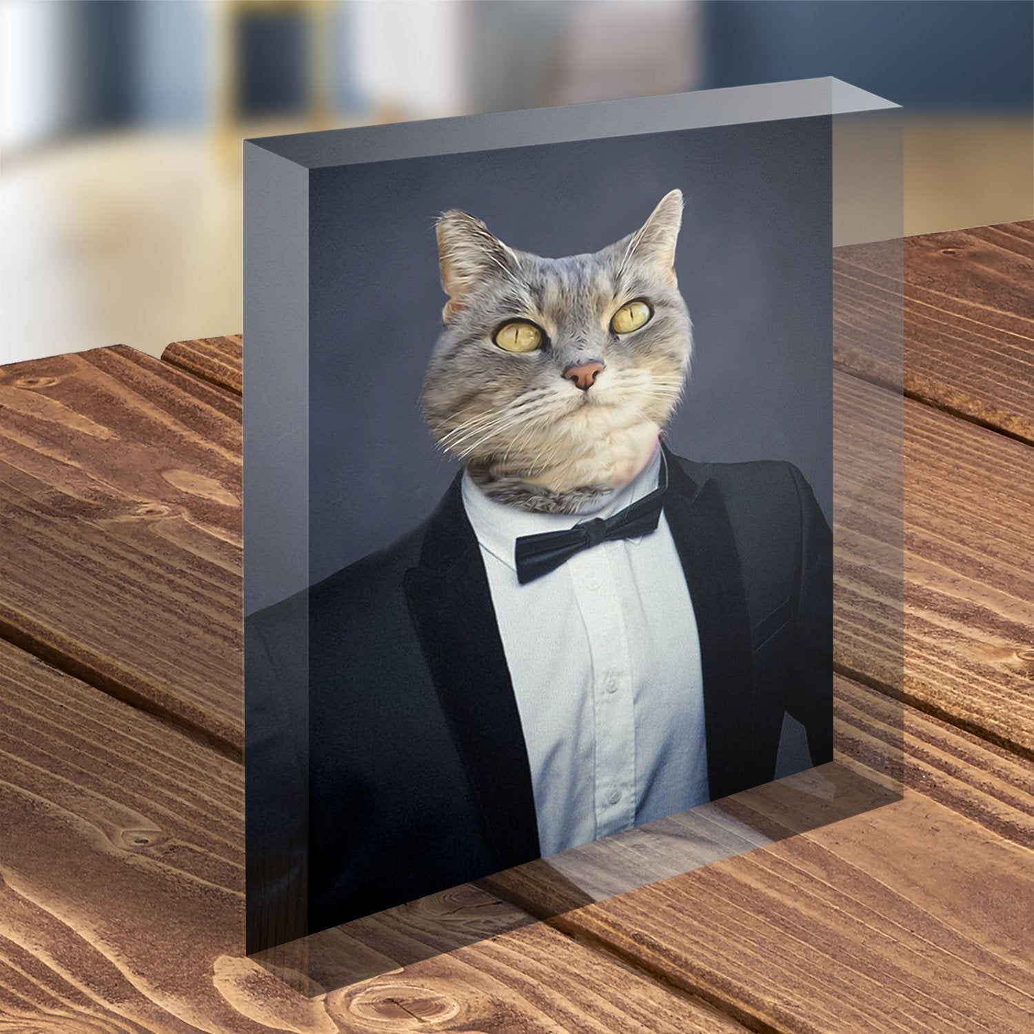 Bow Tie - Custom Pet Portrait - Acrylic Photo Display Block - Fair Dinkum Fashion