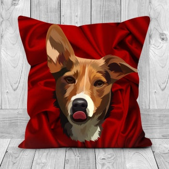 Custom Pet Face - Cushion - Double Sided - Silk  Background - Fair Dinkum Fashion