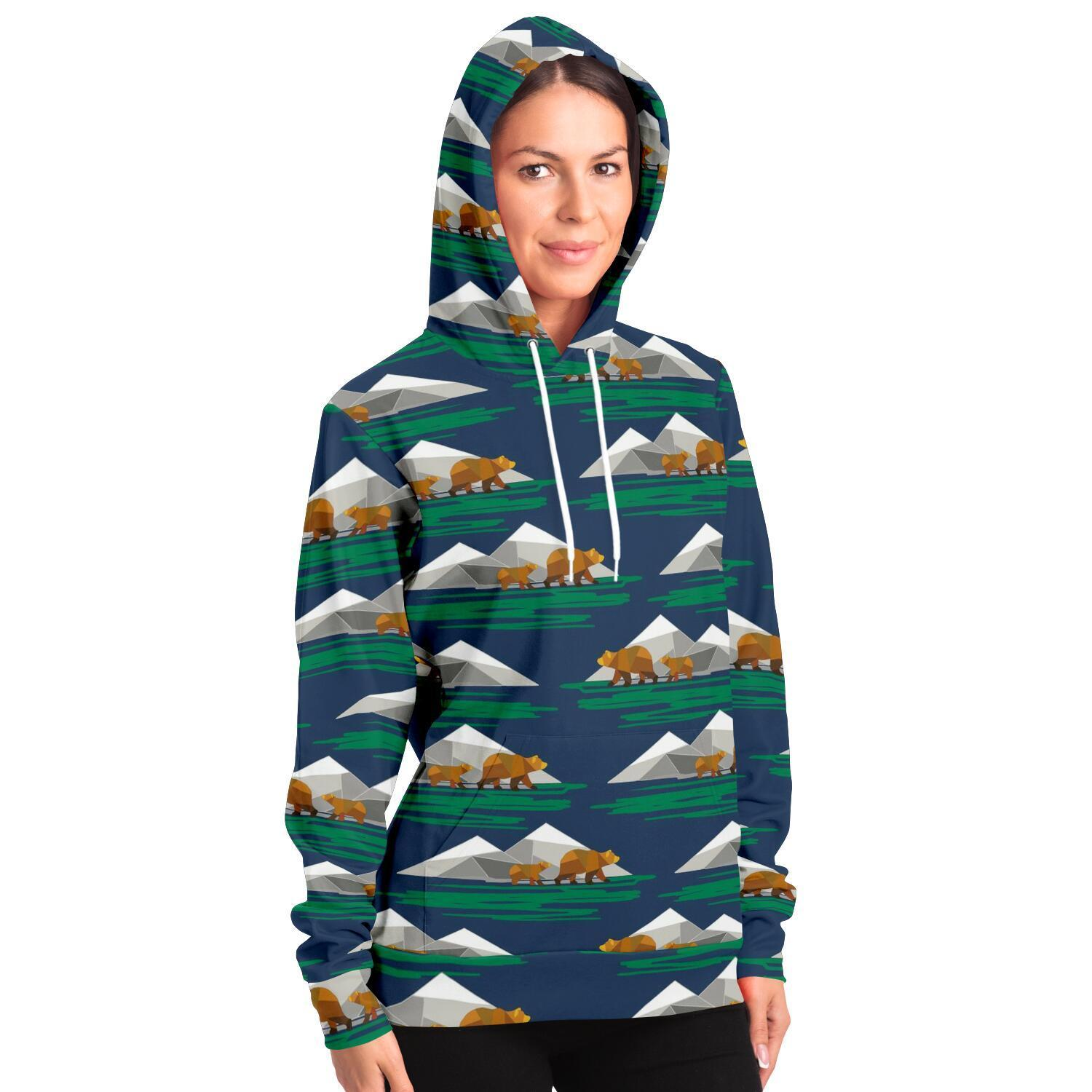 Brown bear and mountain Adults Hoodie - Fair Dinkum Fashion