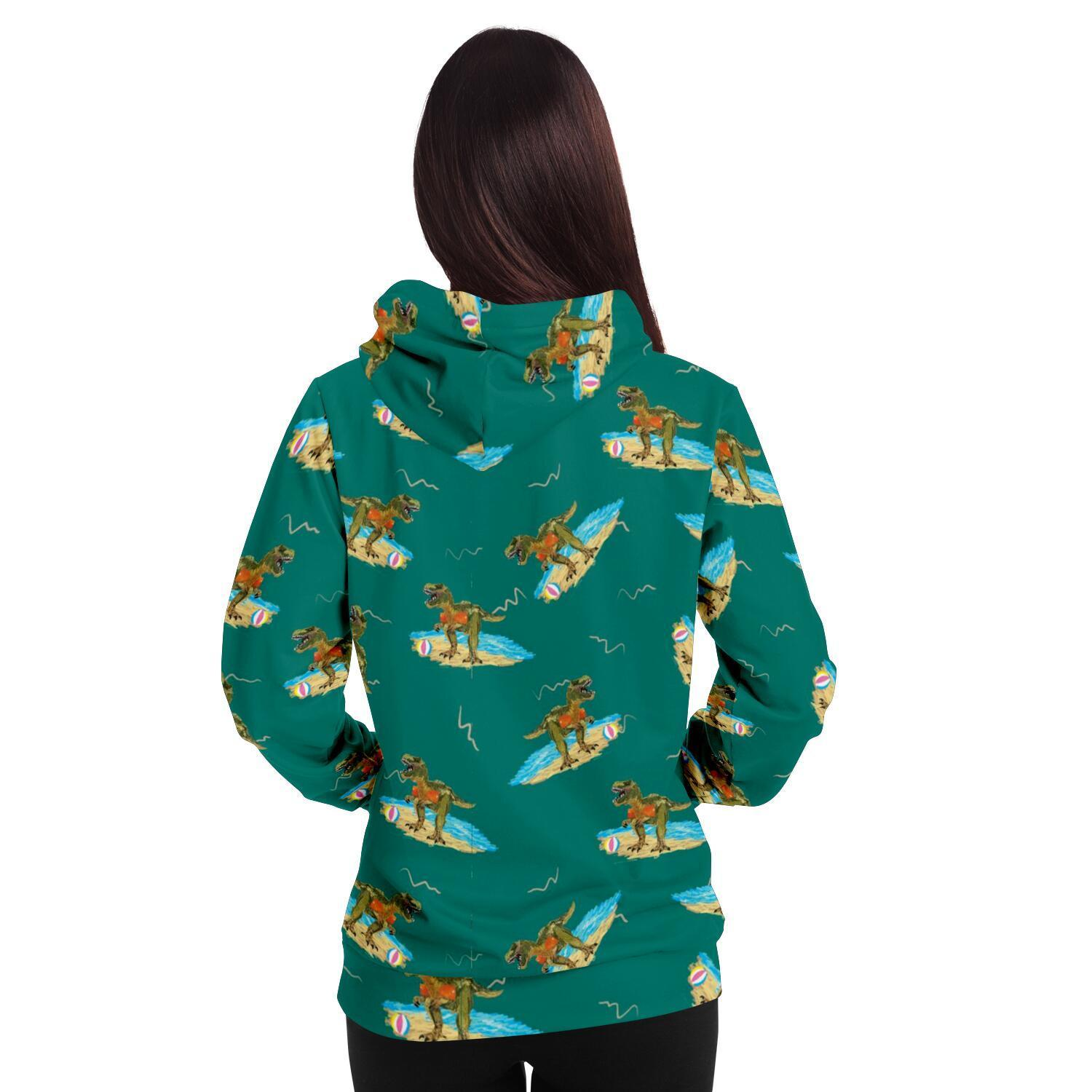 Dino at the beach Adults Hoodie - Fair Dinkum Fashion