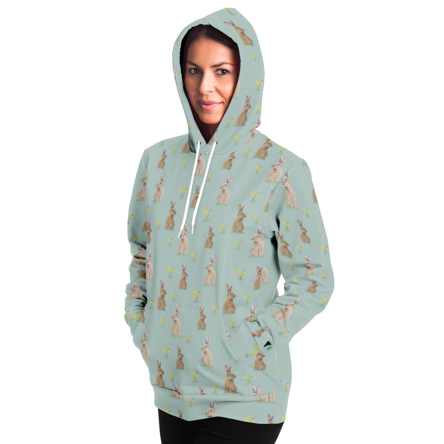 Rabbit and Flowers Adult Hoodie - Fair Dinkum Fashion