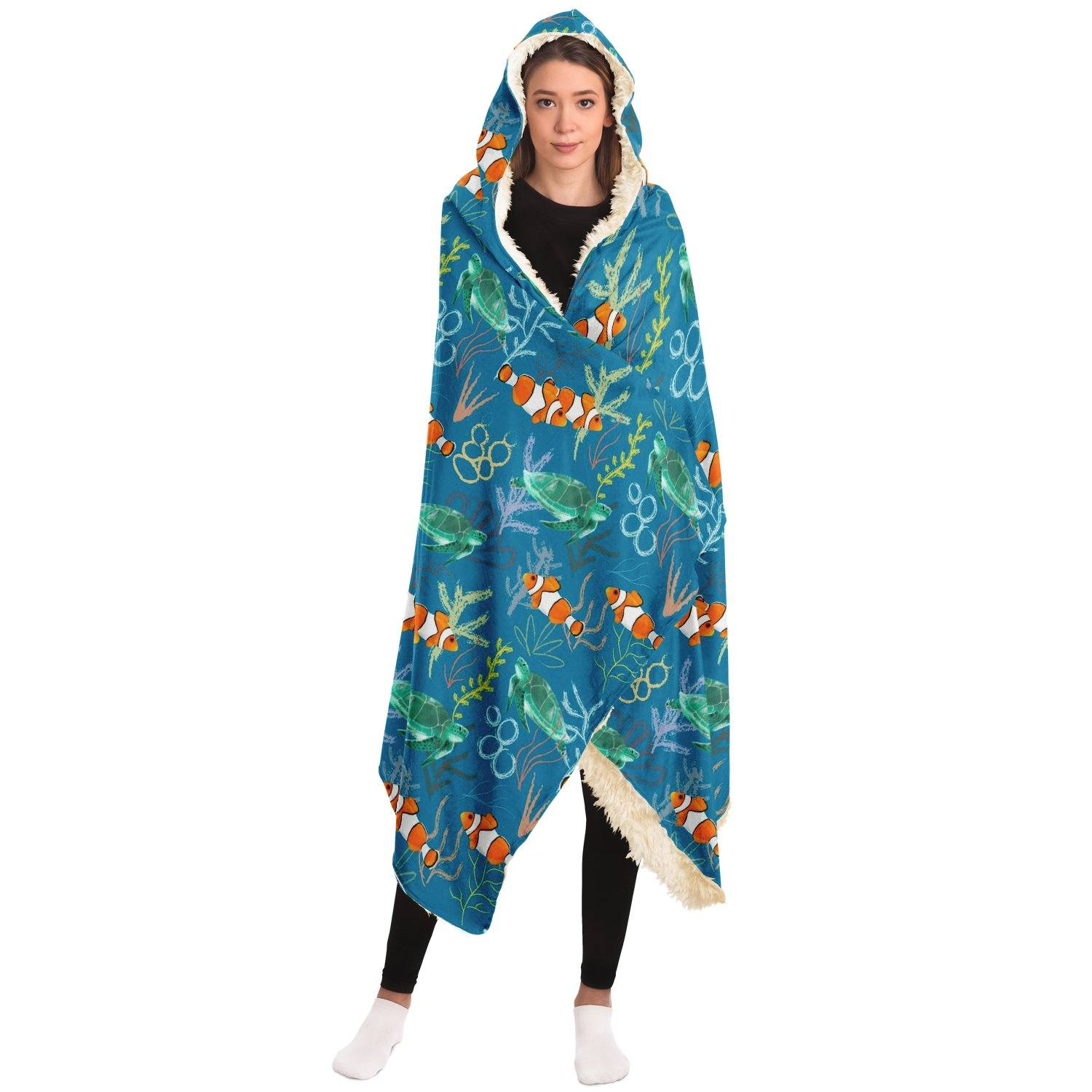 Clownfish and Turtle Hooded Blanket - Fair Dinkum Fashion