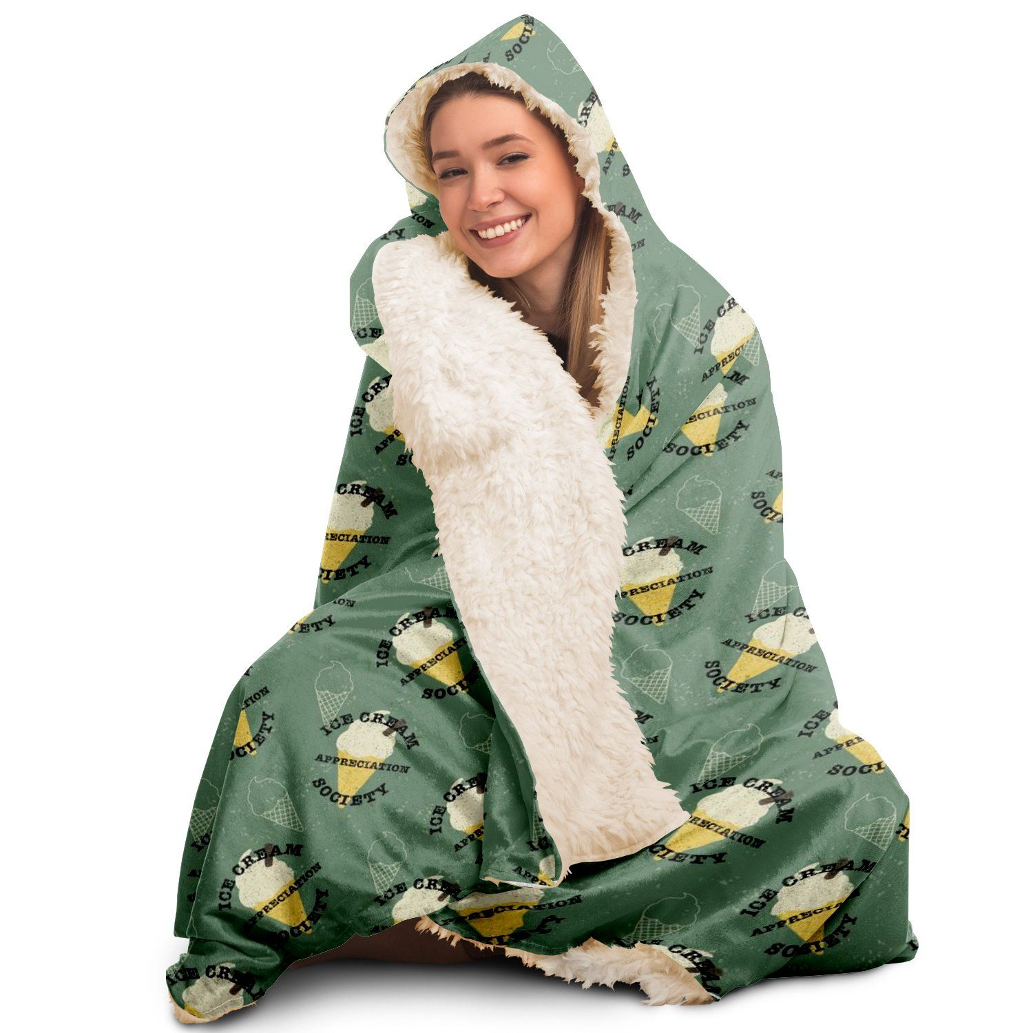 Ice Cream Appreciation - Hooded Blanket - Green - Fair Dinkum Fashion