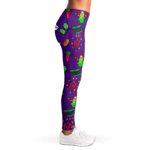 Animated Vegetable Ladies Leggings - Purple - Fair Dinkum Fashion