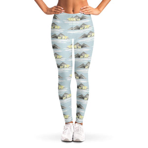 Polar Bear and mountain Ladies Leggings - Fair Dinkum Fashion