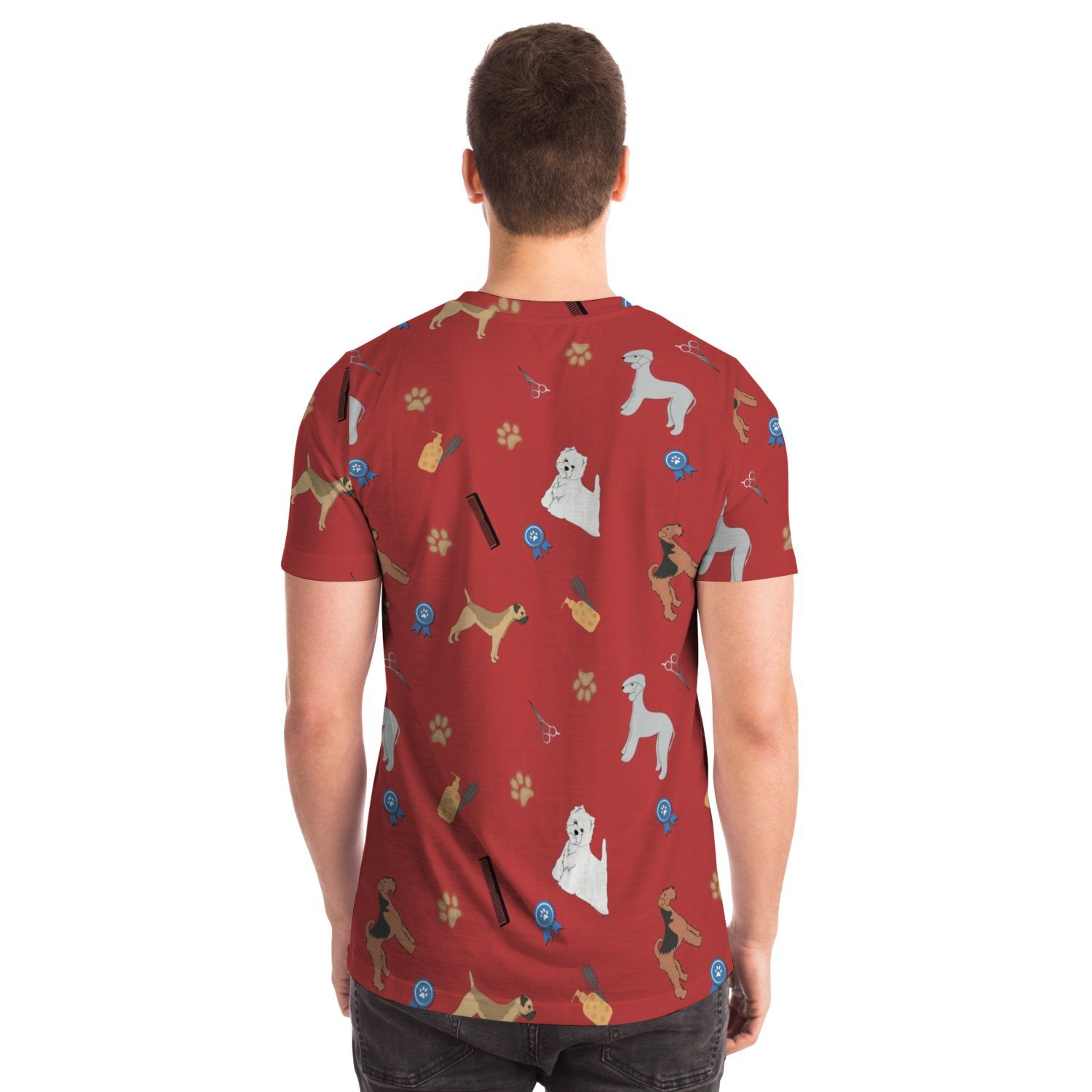 Dog Grooming Red Design T-shirt - Fair Dinkum Fashion