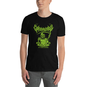 "Coronavirus ""Reaper Says ""No"" to Social Distancing"" Death Metal T-Shirt - Front Print Only"