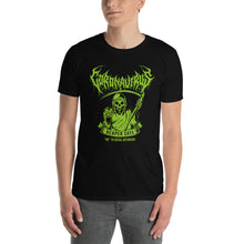 "Load image into Gallery viewer, Coronavirus ""Reaper Says ""No"" to Social Distancing"" Death Metal T-Shirt plus Updated World Tour Back Print"