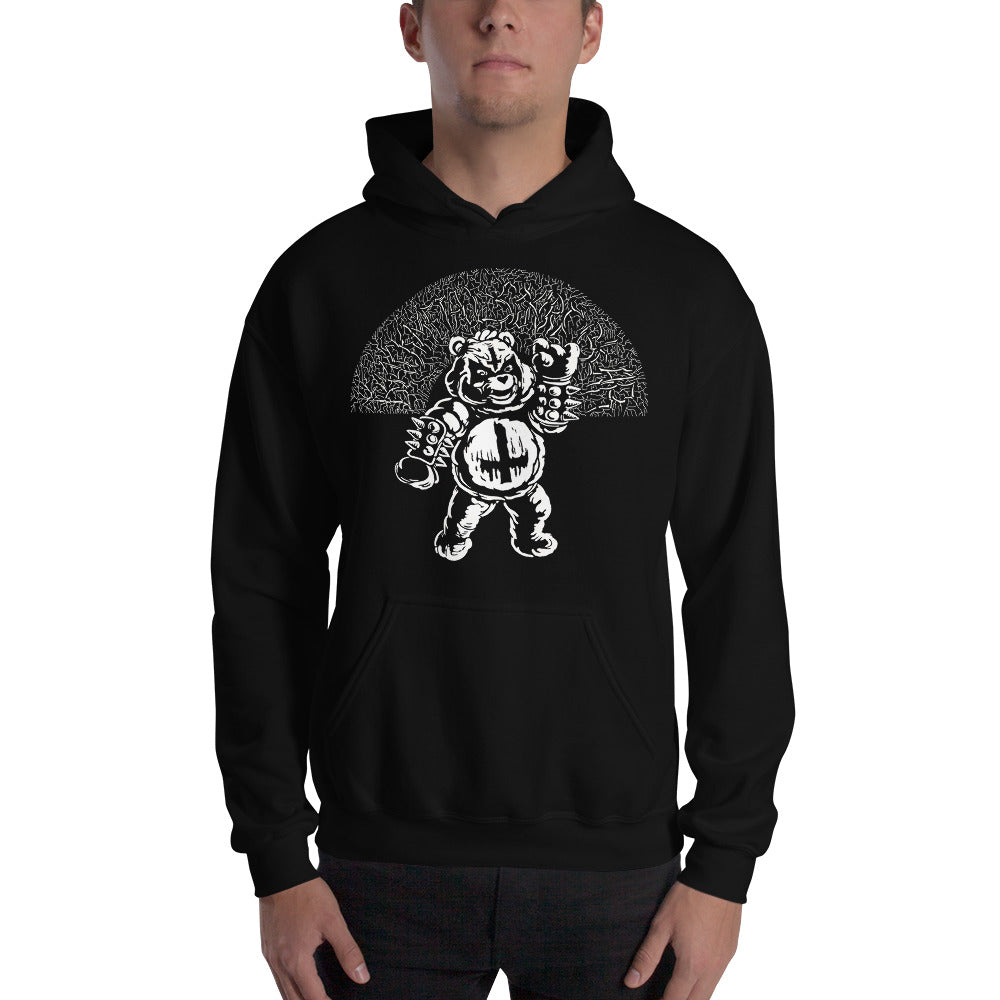 Black Metal Scare Bear - Adult Unisex Black Hoodie