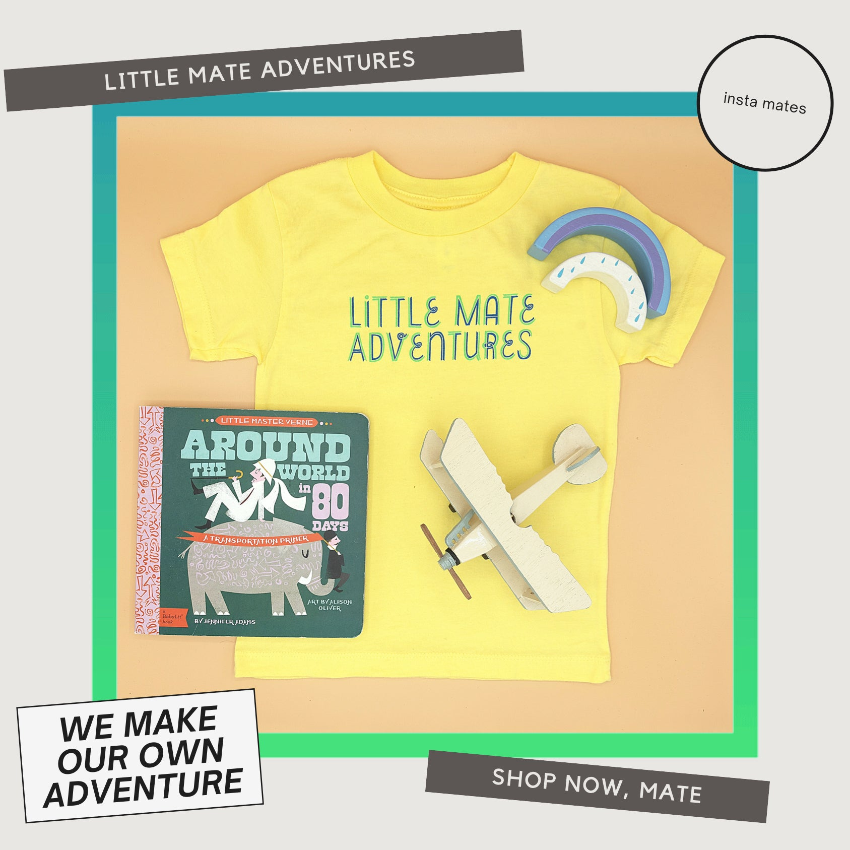 Little mate adventures logo t-shirt in bright yellow, available in baby, toddler, and youth sizing