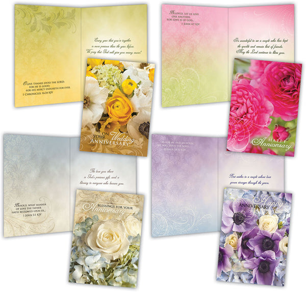 Assorted Anniversary Cards, Box of 12