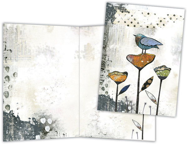 Bird on Three Flowers - Boxed Note Cards, Box of 15