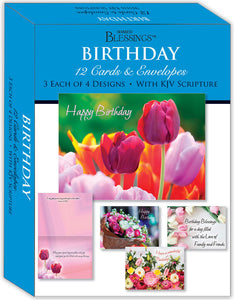 Birthday - Beautiful Flowers - Assorted Birthday Cards, Box of 12