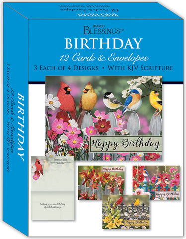 Birthday - Birds - Assorted Birthday Cards, Box of 12