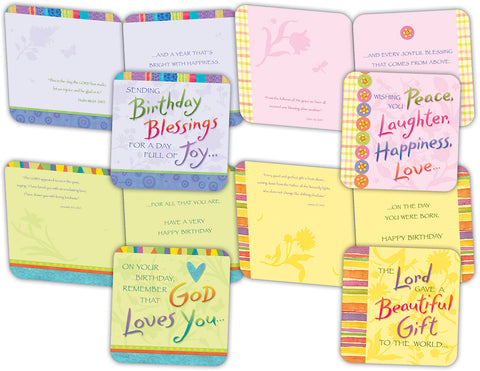 Birthday Blessings - Assorted Birthday Cards with NIV Scripture, Box of 16