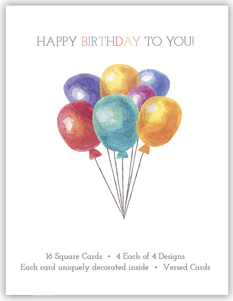 Birthday Carnival - Assorted Birthday Cards, Box of 16