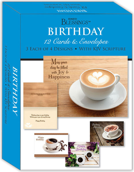Birthday - Coffee Time - Assorted Birthday Cards, Box of 12