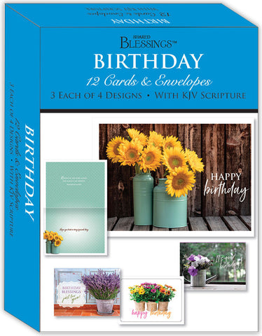 Birthday - Flowers in a Vase - Assorted Birthday Cards, Box of 12
