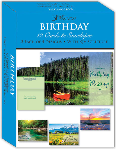 Birthday - Scenic - Assorted Birthday Cards, Box of 12