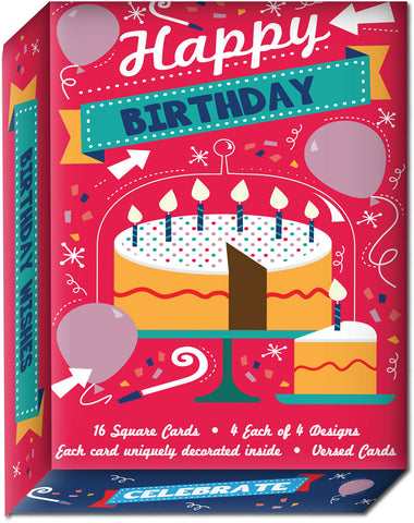 Birthday Wishes - Assorted Birthday Cards, Box of 16