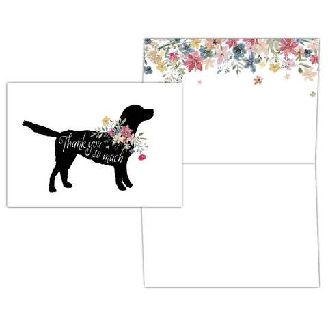 Black Lab and Floral Thank You - Boxed Thank You Cards, Box of 15