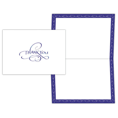 Thank You Blue Script - Boxed Note Cards, Box of 15